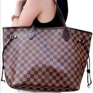 Auth Louis Vuitton Damier Ebene Neverfull MM Tote